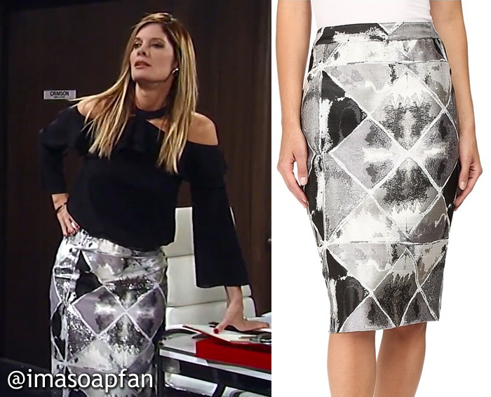 Nina Reeves, Michelle Stafford, Black and Silver Diamond Print Pencil Skirt, GH, General Hospital