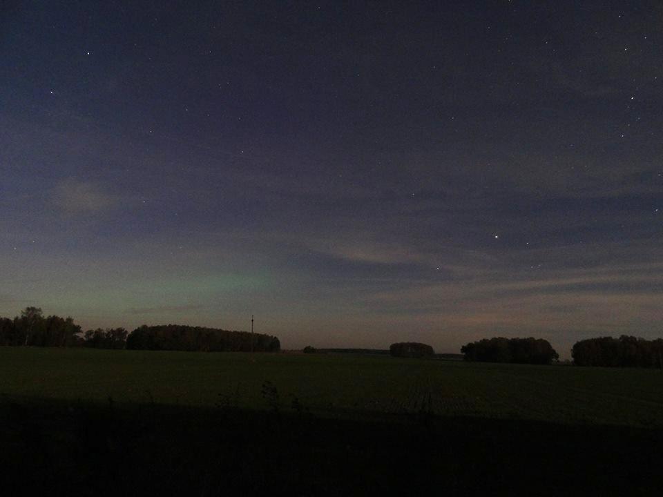 Subtelna zorza polarna sfotografowana 13.10.2016. Wschód mazowieckiego. Autor: Milada Muszyńska