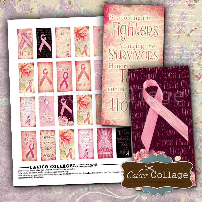 New Breast Cancer Digital Collage Sheet