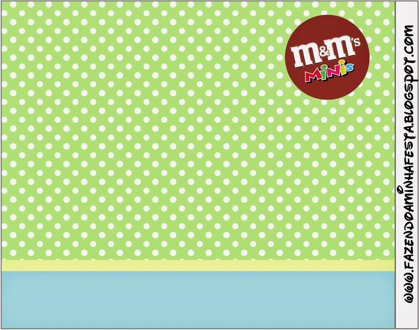 Etiqueta M&M de Verde y Celeste  para imprimir gratis.