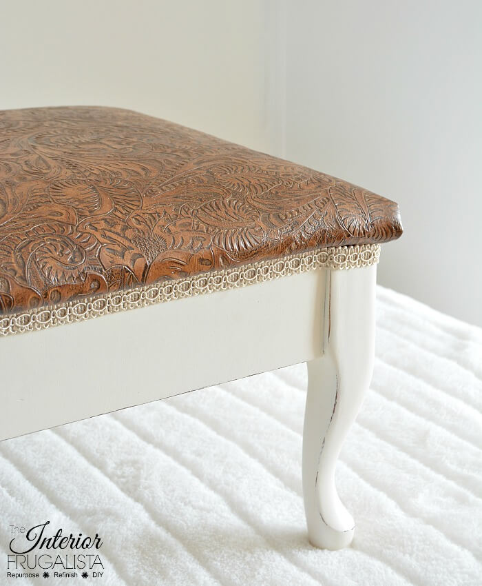 Curvy Embossed Leather Footstool Decorative Trim