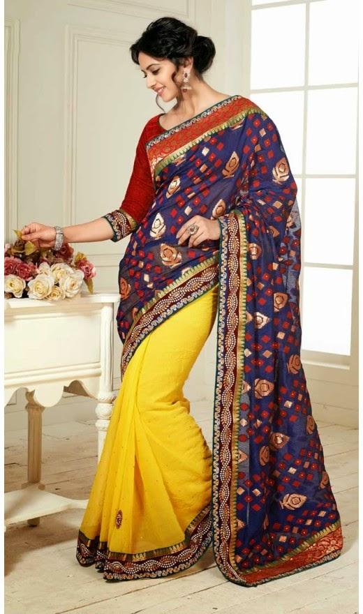 Tollywood Actress Rakul Preet Singh Photos In Navy Blue Yellow Embroidered Saree