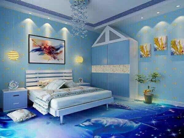 bedroom self leveling 3D floor designs with boys