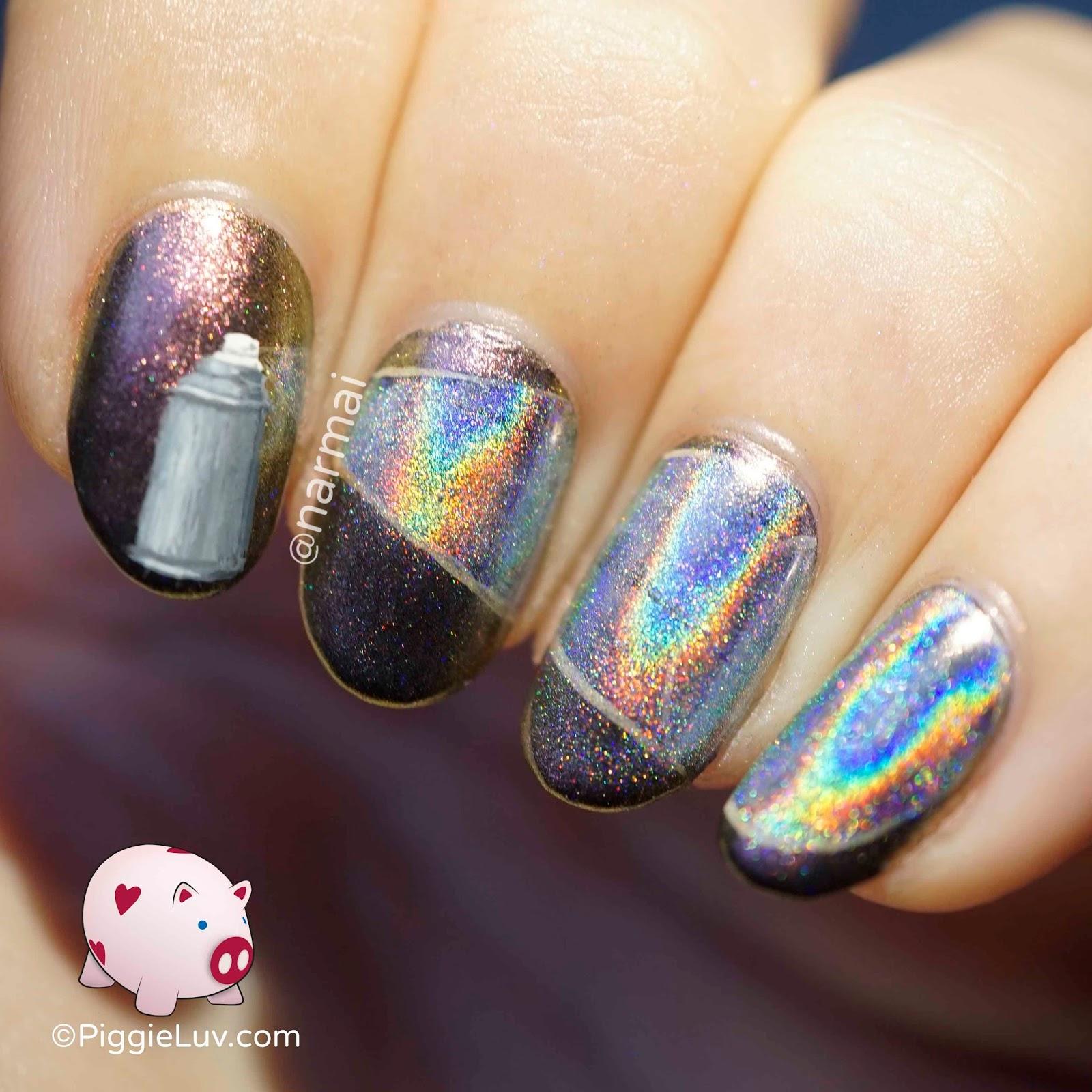 PiggieLuv: Holo spray paint nail art