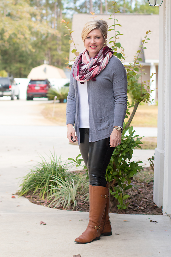grey cardigan and faux leather leggings