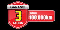 engine warranty 3 tahun atau 100.000KM