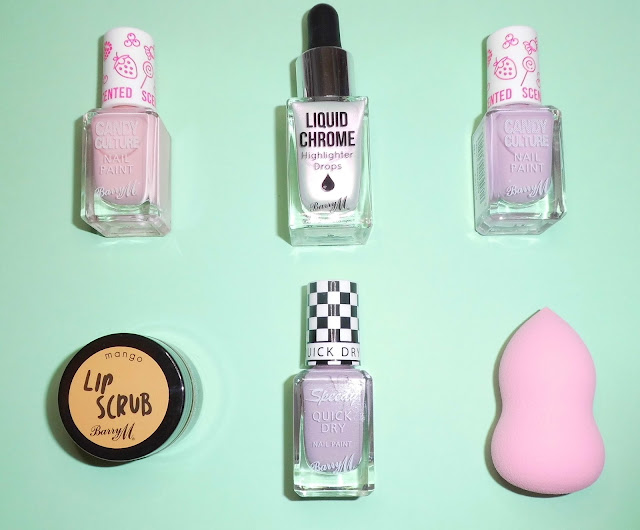 Barry M Haul Lip scrub Candy Culture Liquid Chrome Highlighter Drops Speedy Quick Dry Beauty Blender