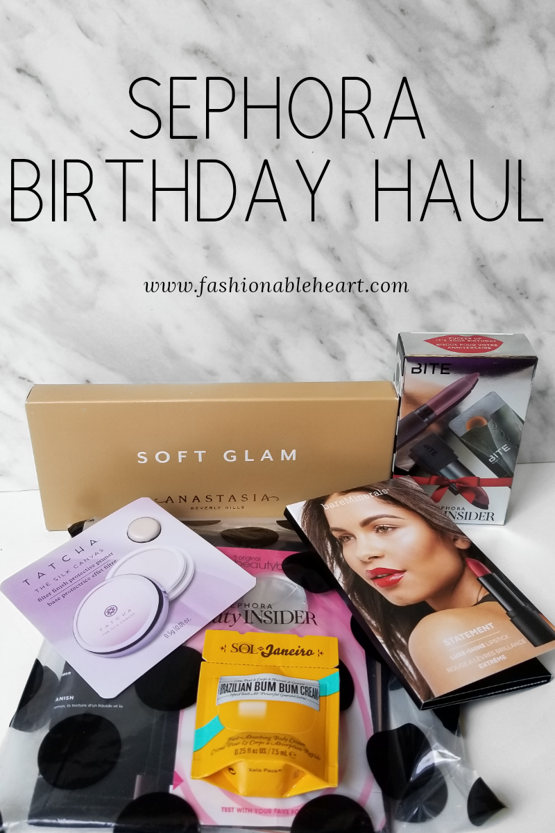 bblogger, bbloggers, bbloggerca, canadian beauty blogger, sephora, haul, birthday, 2018, bite beauty, anastasia beverly hills, abh, soft glam, bareminerals, lipstick, tatcha, silk canvas, sol de janeiro brazilian bum bum cream, foundation, samples, tarte, amazonian clay, kat von d lock it, lock-it, hourglass, vanish seamless, estee lauder double wear, lancome , teint idole, cover fx, power play, beautyblender, luxe shine