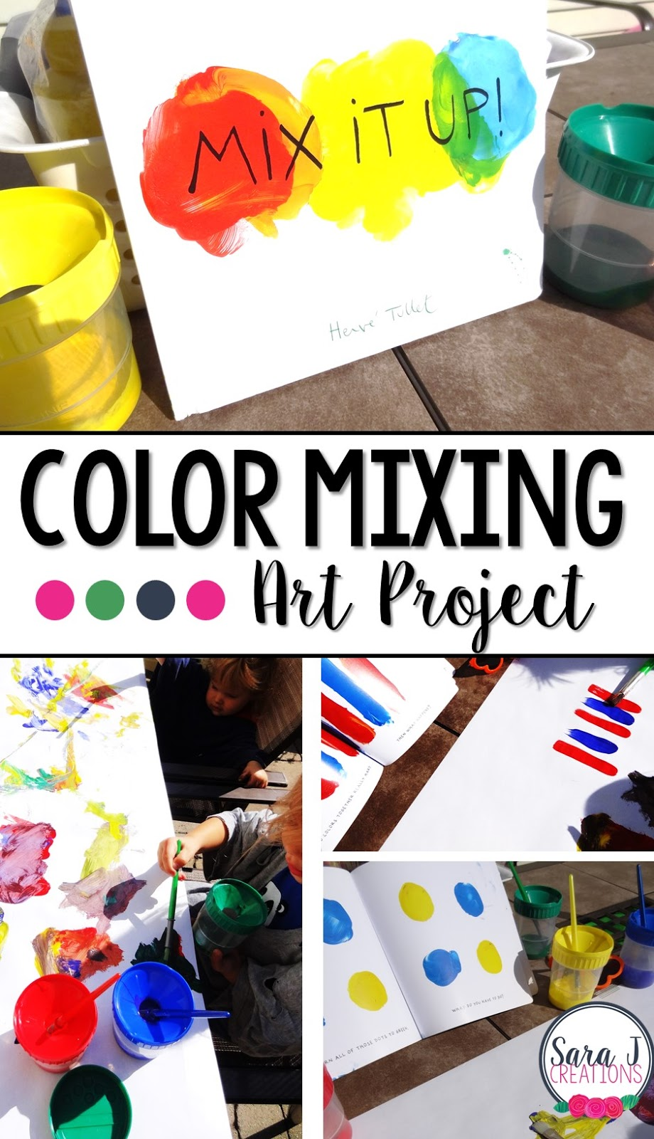Have you read this book?  I love it for doing color mixing art activities with my toddlers.