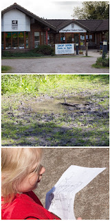 Langdon Visitor Centre, a muddy puddle, a little girl with a map