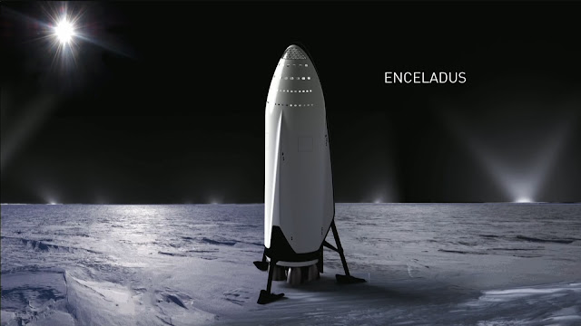 SpaceX Interplanetary Transport System Ship at Enceladus