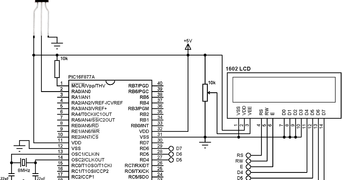 interfacing pic16f877a with lm35 temperature sensor