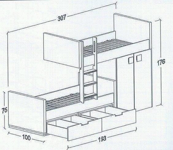 Planos para literas camas dobles o cuchetas para ni os - Medidas camas infantiles ...