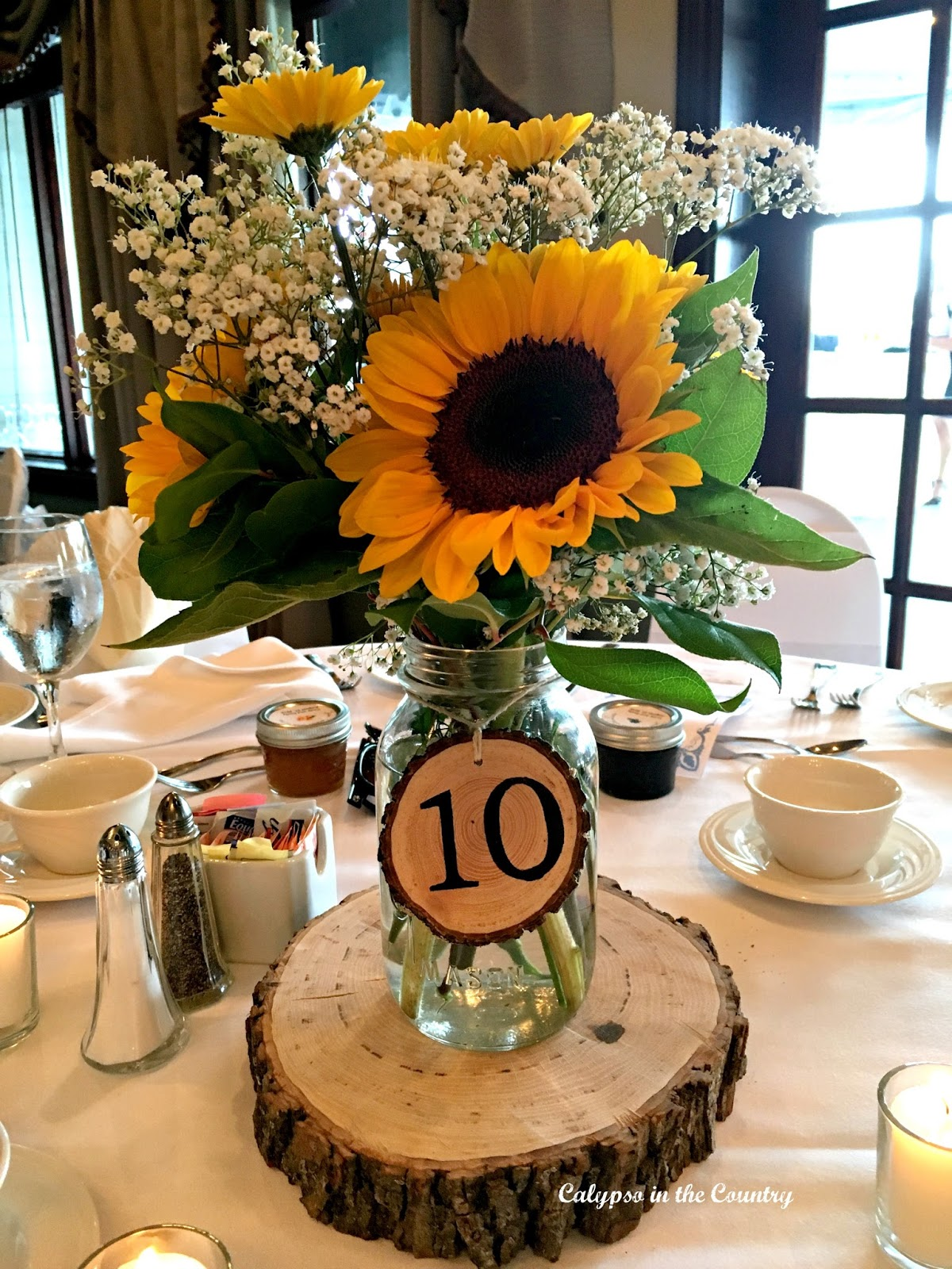 Sunflowers Centerpiece at a country themed wedding.