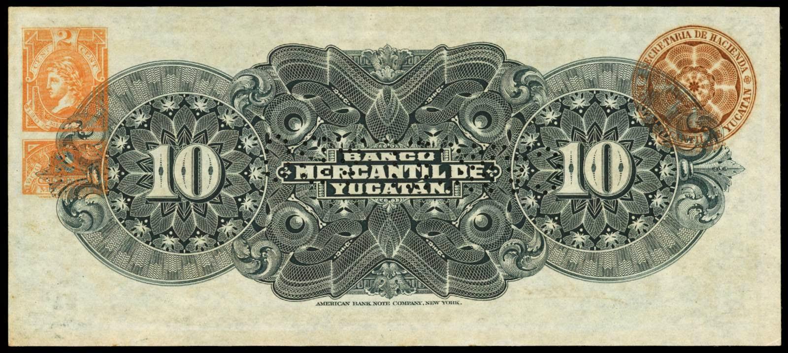 Mexico 10 Pesos banknote 1904 Banco Mercantil de Yucatan ...
