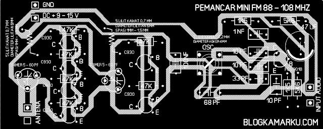 Pemancar radio fm PCB dan layout nya