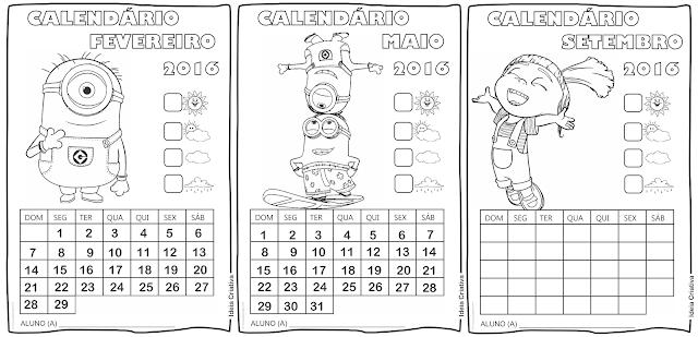 Calendários Minions 2016 para Colorir