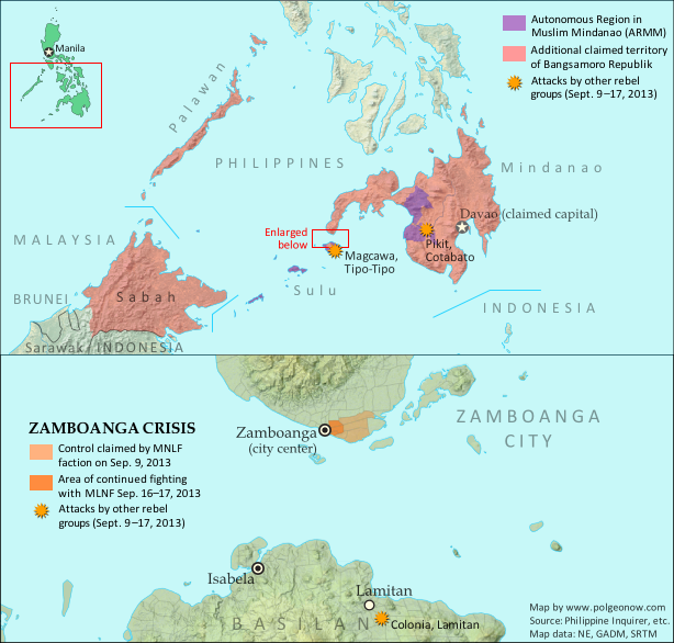 Map of territory in the Philippines and Malaysia claimed by the separatist Bangsamoro Republik, plus territorial control by the Moro National Liberation Front (MNFL) as part of the 2013 Zamboanga crisis.