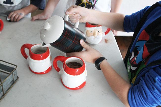 Santa Mugs with Hot Chocolate