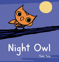 Night Owl book cover with small orange owl on branch with moon in the background