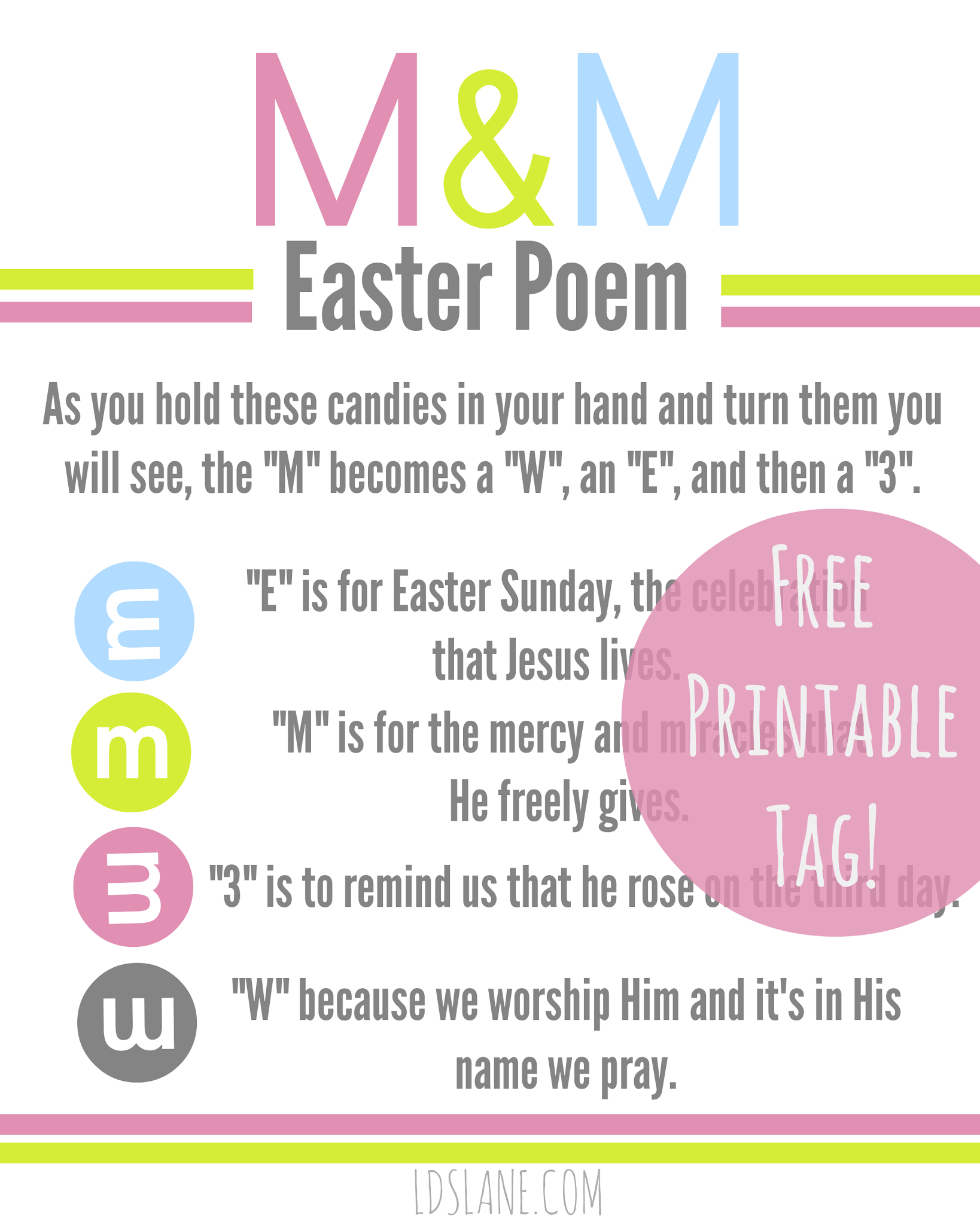 M&M Easter Poem - free printable tags ldslane.com