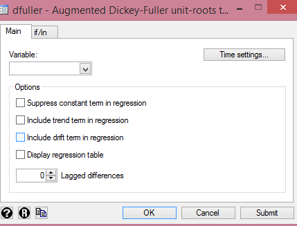 Stata: Augmented Dickey-Fuller dialog box from cruncheconometrix.com.ng