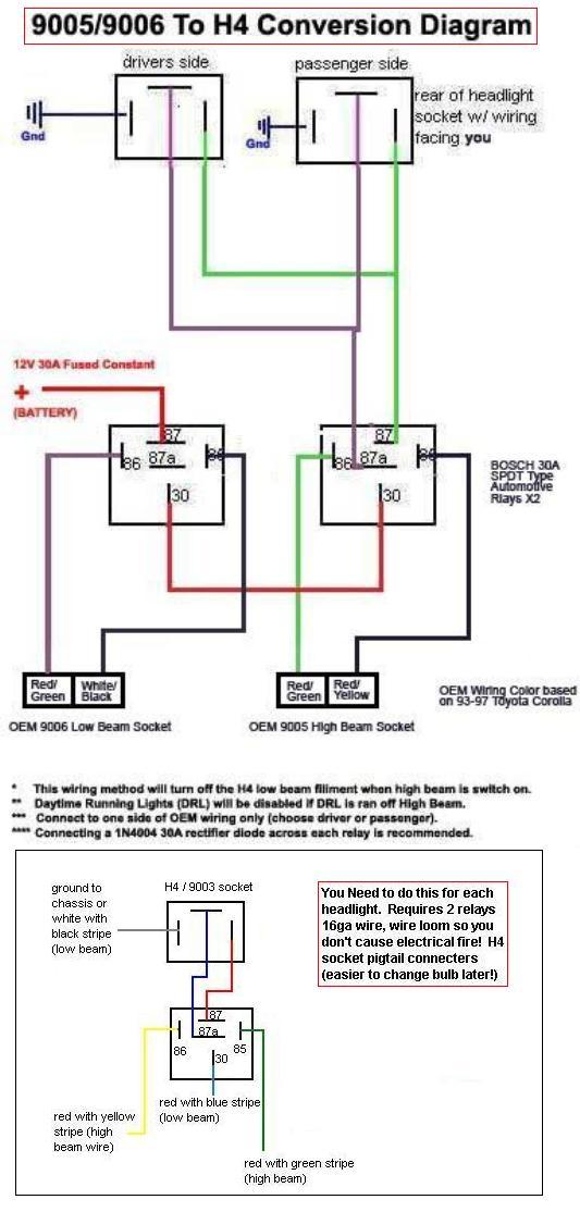 Corolla DIY: DIY  NON HID  90059006 to H4 Conversion Diagram
