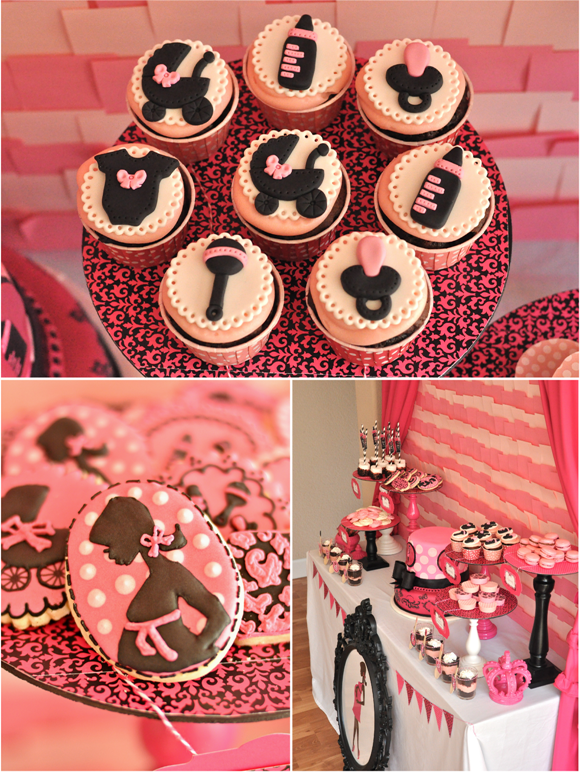 Pink and Black Glam Baby Shower and Printables - via BirdsParty.com