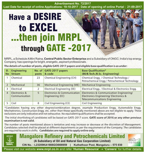MRPL Engineer Vacancy by GATE 2017