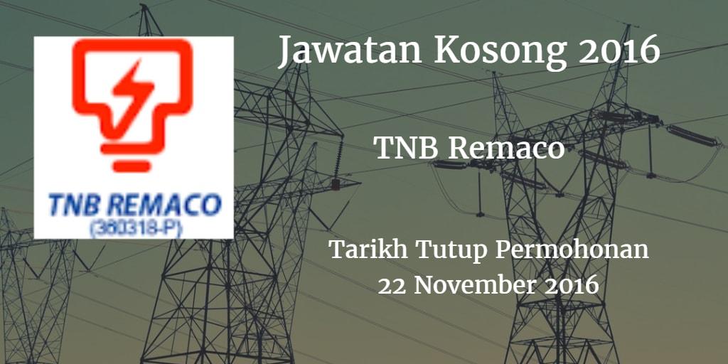 Jawatan Kosong TNB Remaco 22 November 2016