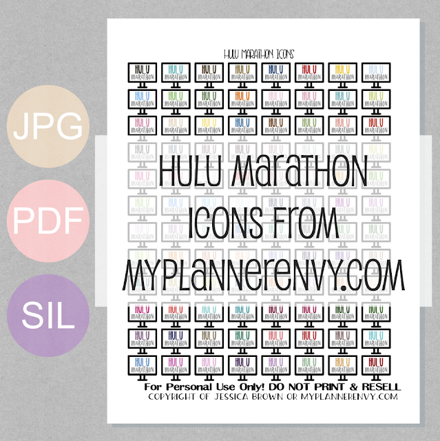 Free Printable Hulu Marathon Icons from myplannerenvy.com