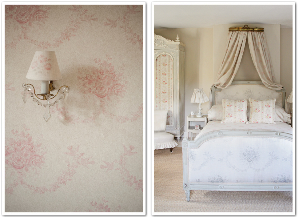 Decorare con la carta da parati shabby chic interiors for Tappezzeria per camera da letto