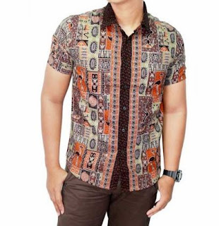 Baju batik kemeja pria remaja gaul lengan pendek