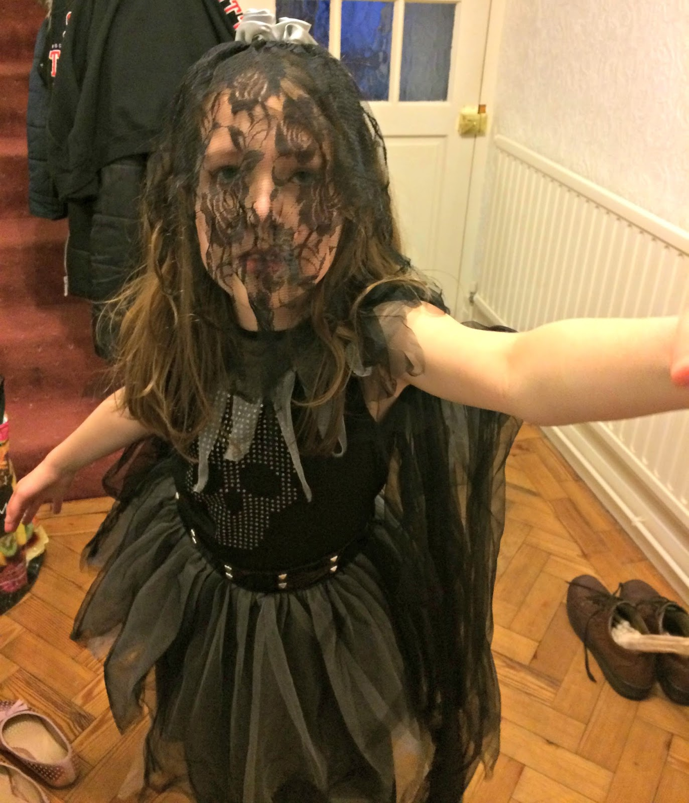 Caitlin in gothic bride fancy dress, Halloween 2016