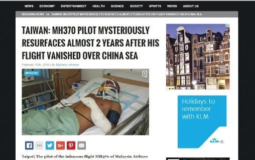 Laporan portal worldnewsdailyreport.com mengenai penemuan Kapten Zaharie di Tai