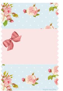 Etiquetas para Imprimir Gratis de Shabby Chic en Rosa y Celeste.