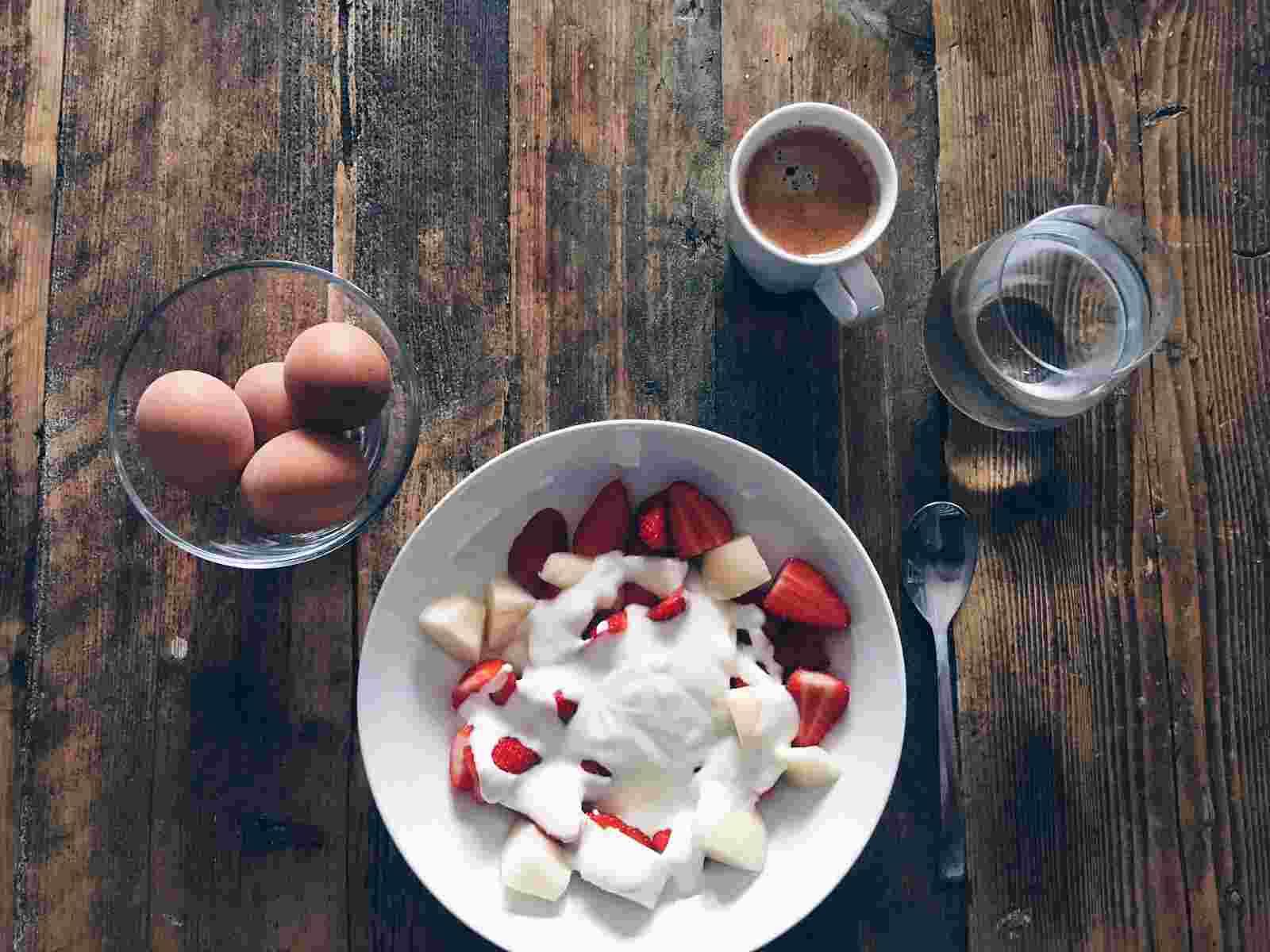 chopped fruit and yoghurt breakfast
