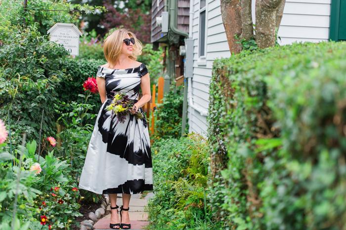 black white formal dress off the shoulder full skirt