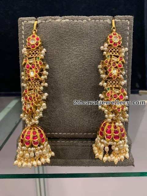 Three Step Peacock kundan Jhumkas