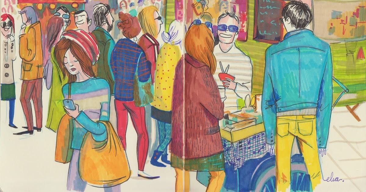 Concurso De Dibujo Urbano En Libreta Fnac Madrid: Elva Vázquez Lombardía: Sketch In Eat Street Bcn