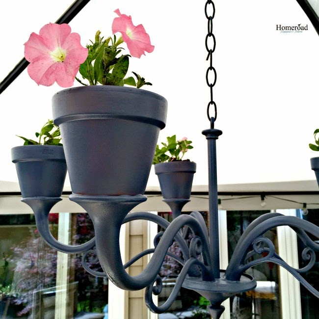 Repurposed Flower pot chandelier www.homeroad.net