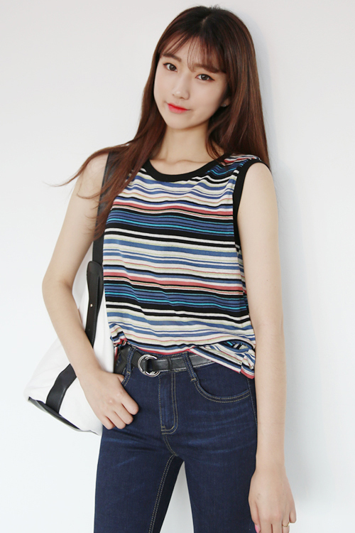 Striped Crew Neck Tank Top