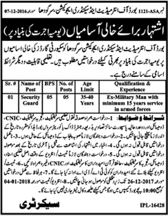 Jobs In Board Of Intermediate And Secondary Education Sargodha Dec 2017