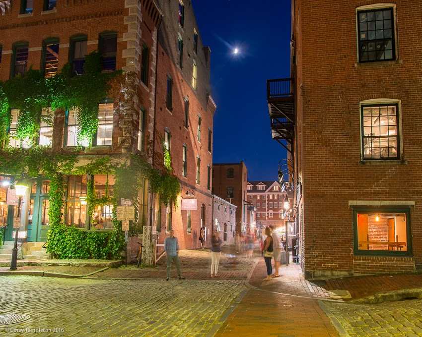 Portland, Maine USA July 2016 photo by Corey Templeton of the corner of Wharf Street and Dana Street in the Old Port at night.