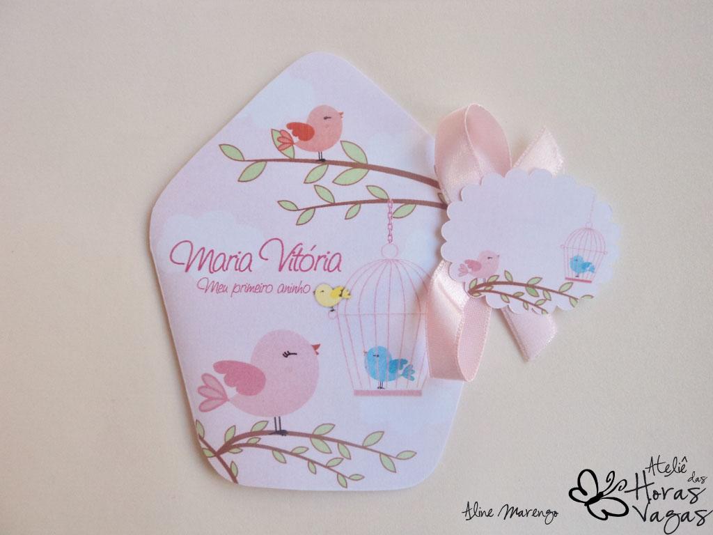 convite artesanal 1 aninho rosa casinha de passarinhos delicado rosa bebê infantil