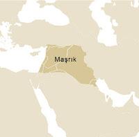Harita üzerinde maşrık ülkelerinden oluşan bölgenin gösterimi