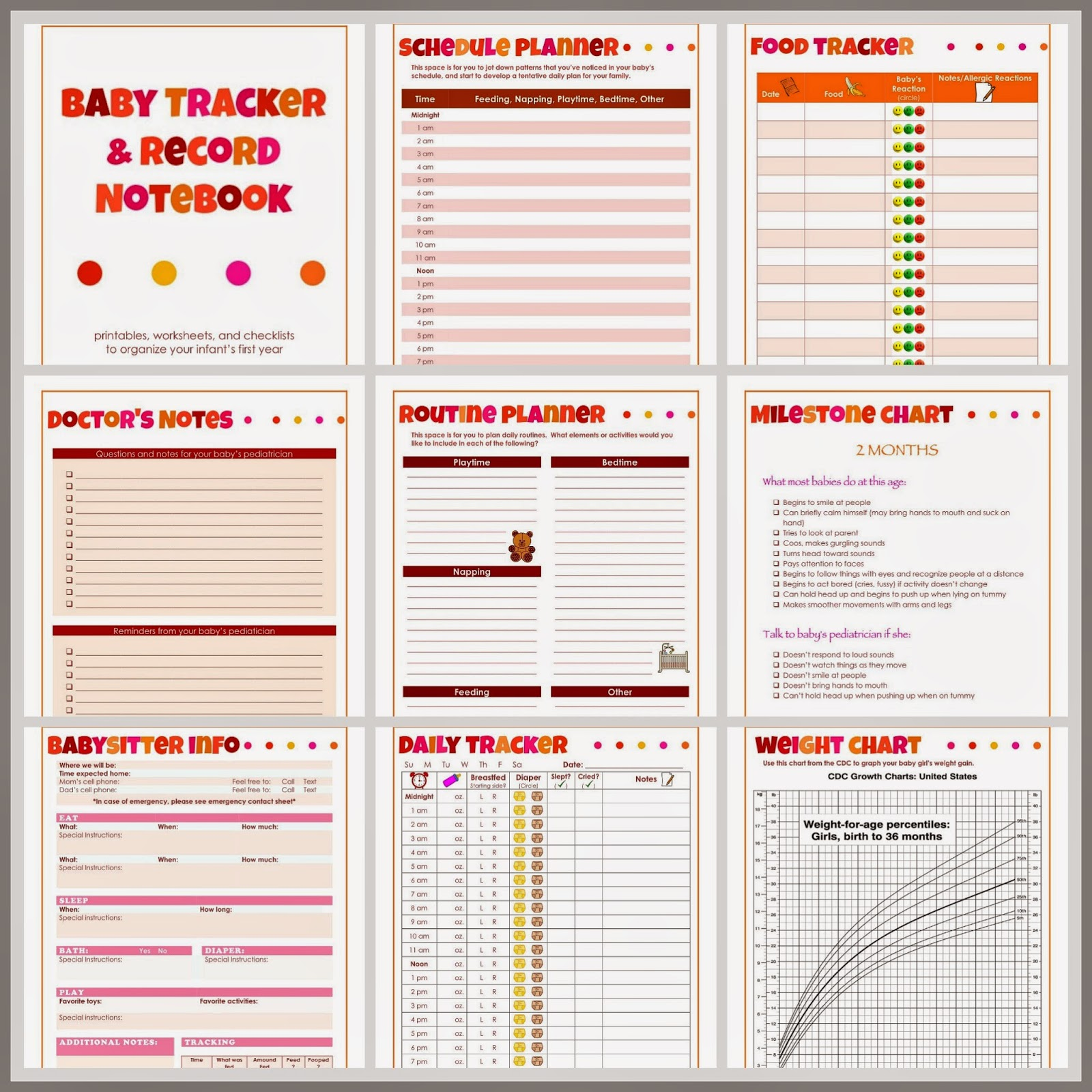 Laura S Plans Baby Tracker And Record Notebook For Girls