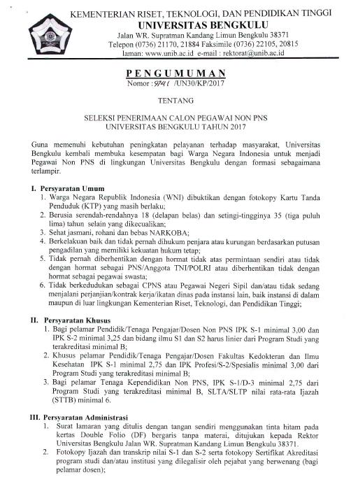 Lowongan Calon Pegawai Dosen & Tenaga Kependidikan Universitas Bengkulu