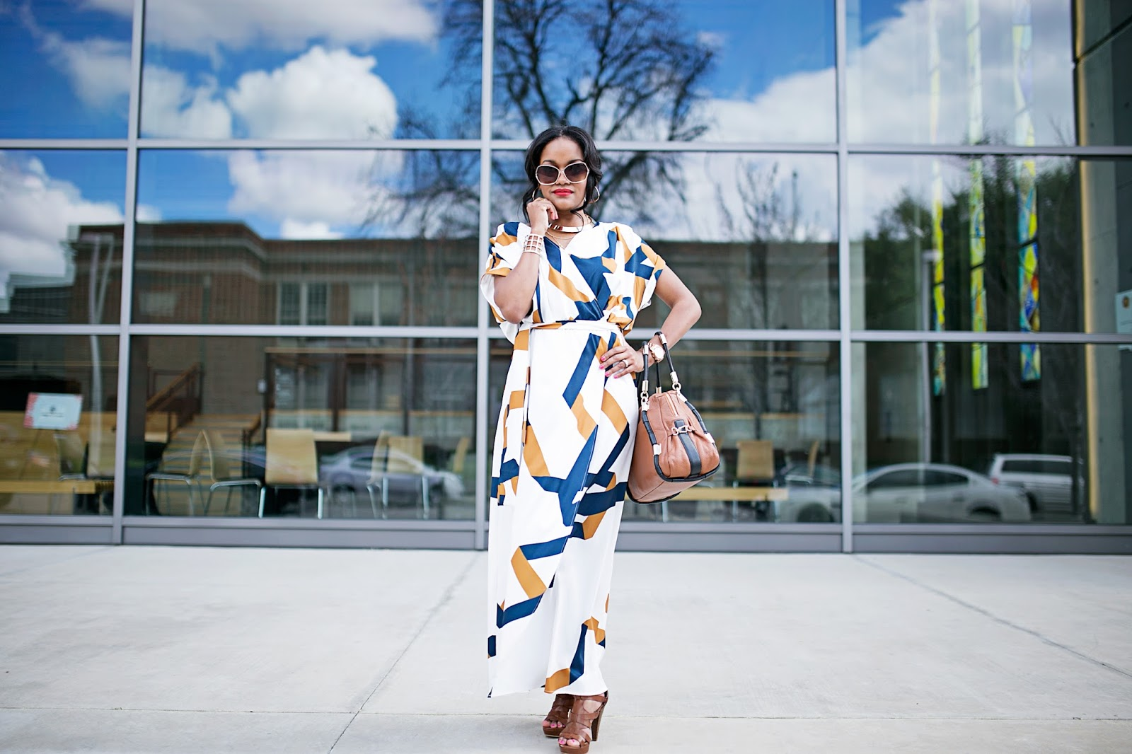 maxi dress-spring fashion- sheIn maxi dress- perfect maxi dress- how to dress up maxi dress- guess caged platform sandals, bauble bar- dallas fashion blogger- black girl fashion blogger- look for less- diane von furstenburg look for less-
