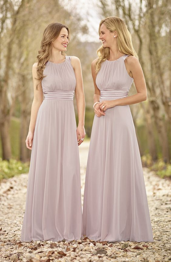 2017 Cheap A Line Silver Chiffon High Neck Floor Length Elegant Long Bridesmaid Dress